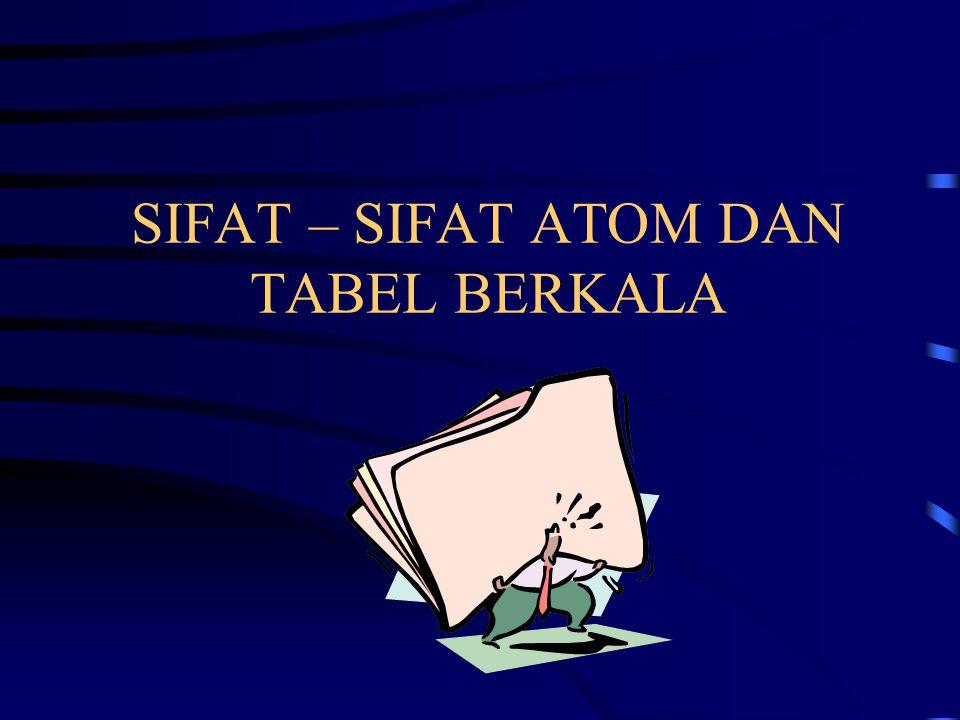 Hukum Berkala dan Tabel Berkala Salah satu kegiatan ilmiah yang penting adalah mencari keteraturan Dalam kaitan dengan unsur-unsur, skema yang sekarang dikenal ditemukan secara terpisah oleh Dimitri Mendelev dan Lothar Meyer 1869 Klasifikasi itu didasarkan pada pandangan Jika unsur disusun berdasarkan kenaikan bobot atom, seperangkat sifat akan terulang secara berkala