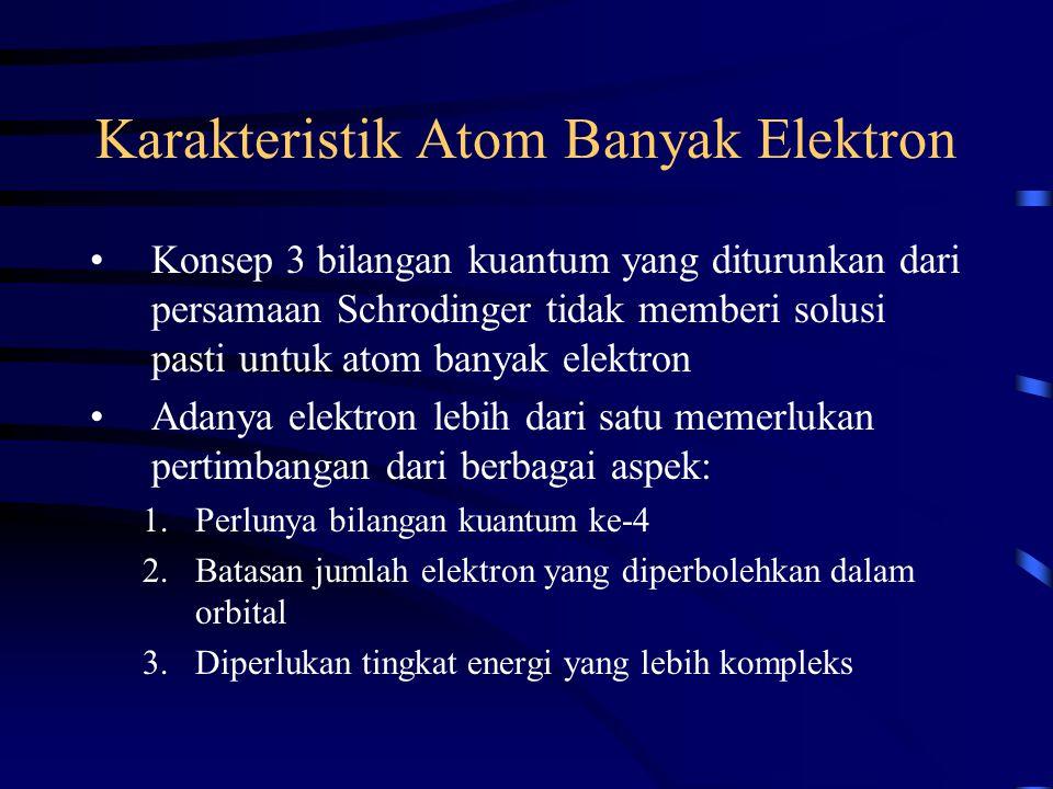 Karakteristik Atom Banyak Elektron Konsep 3 bilangan kuantum yang diturunkan dari persamaan Schrodinger tidak memberi solusi pasti untuk atom banyak e
