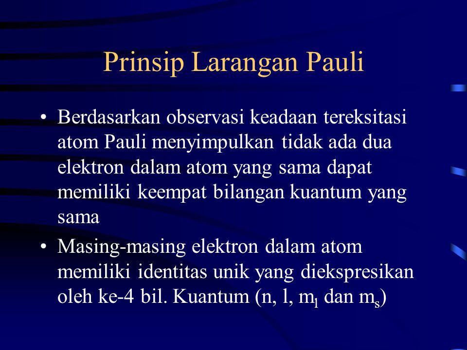 Prinsip Larangan Pauli Berdasarkan observasi keadaan tereksitasi atom Pauli menyimpulkan tidak ada dua elektron dalam atom yang sama dapat memiliki ke