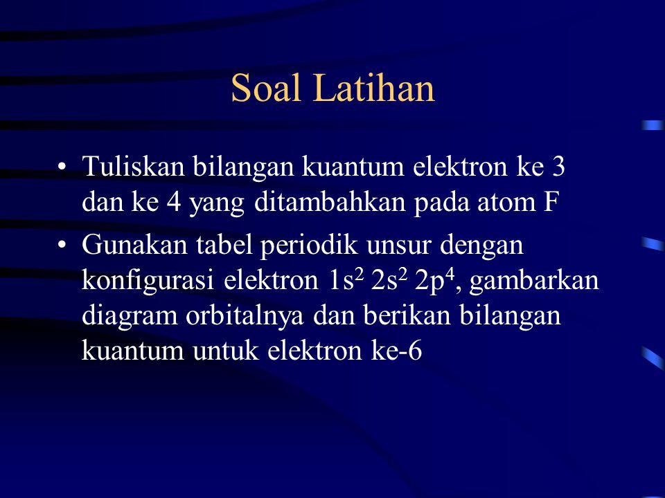 Soal Latihan Tuliskan bilangan kuantum elektron ke 3 dan ke 4 yang ditambahkan pada atom F Gunakan tabel periodik unsur dengan konfigurasi elektron 1s
