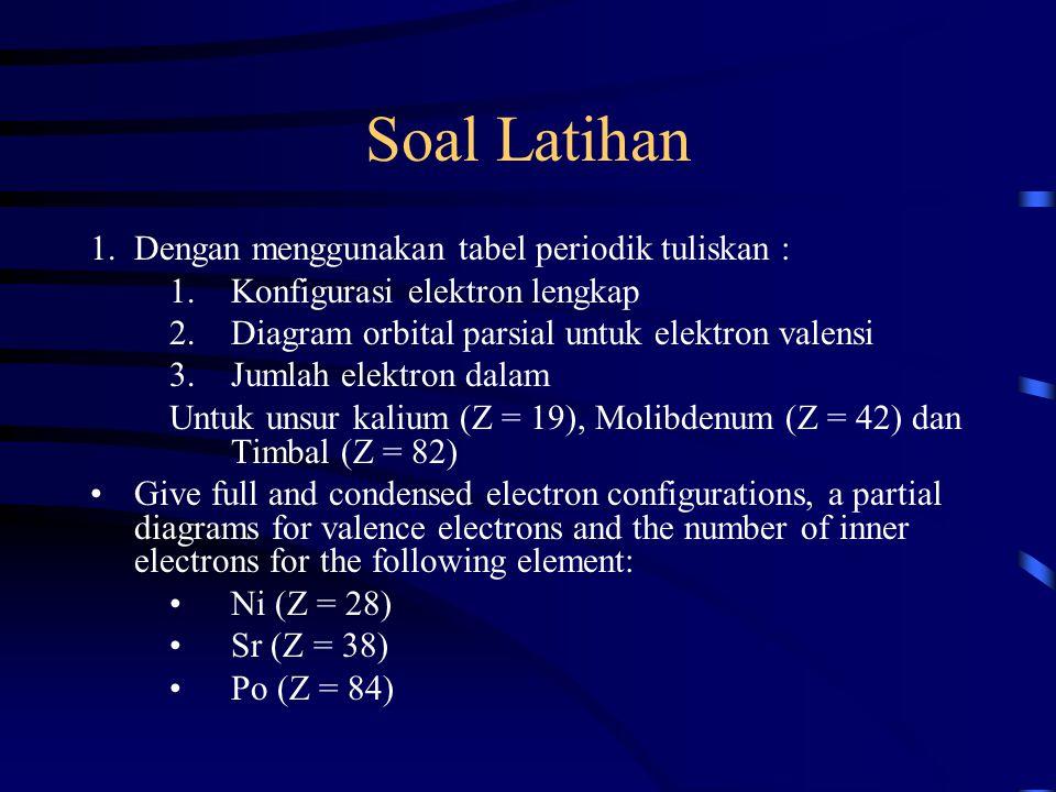 Soal Latihan 1.Dengan menggunakan tabel periodik tuliskan : 1.Konfigurasi elektron lengkap 2.Diagram orbital parsial untuk elektron valensi 3.Jumlah e