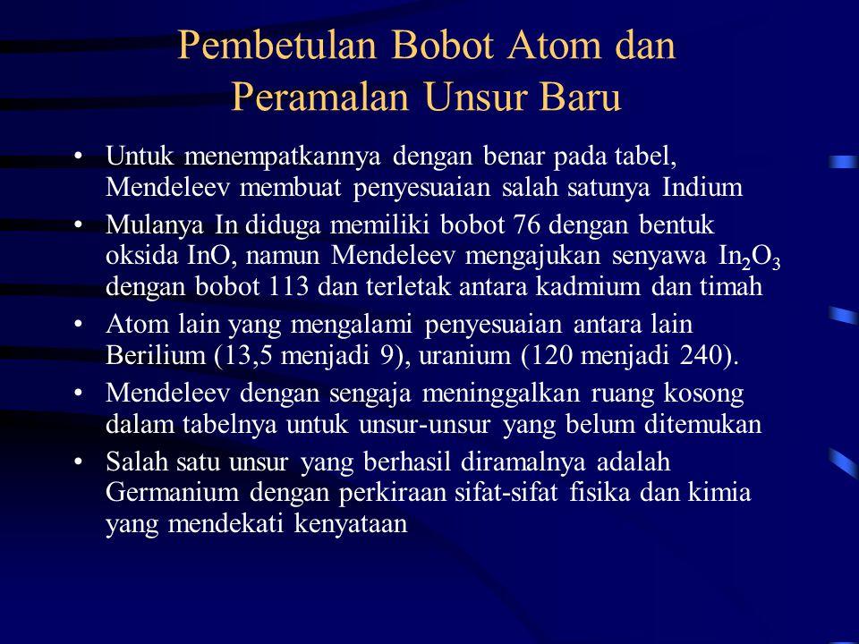 Pembetulan Bobot Atom dan Peramalan Unsur Baru Untuk menempatkannya dengan benar pada tabel, Mendeleev membuat penyesuaian salah satunya Indium Mulany