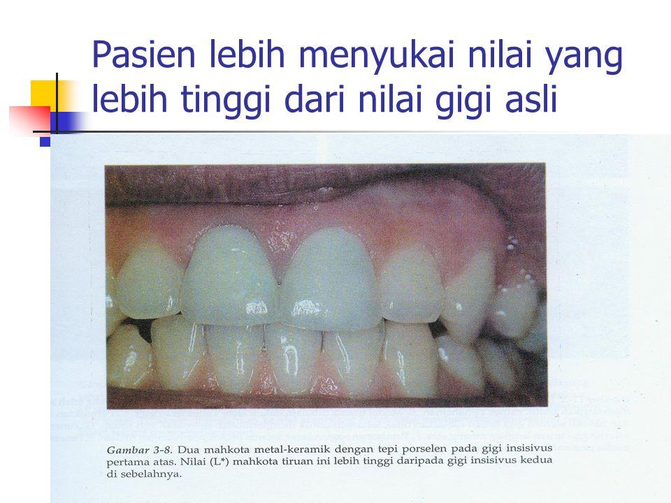 Pasien lebih menyukai nilai yang lebih tinggi dari nilai gigi asli