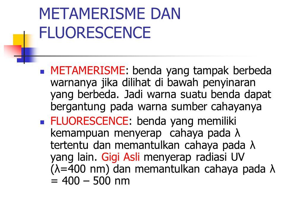 METAMERISME DAN FLUORESCENCE METAMERISME: benda yang tampak berbeda warnanya jika dilihat di bawah penyinaran yang berbeda. Jadi warna suatu benda dap