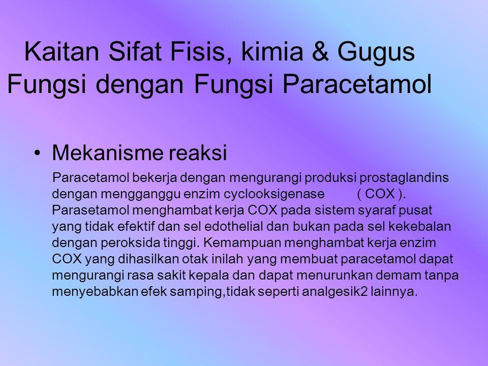 Kaitan Sifat Fisis, kimia & Gugus Fungsi dengan Fungsi Paracetamol Mekanisme reaksi Paracetamol bekerja dengan mengurangi produksi prostaglandins deng