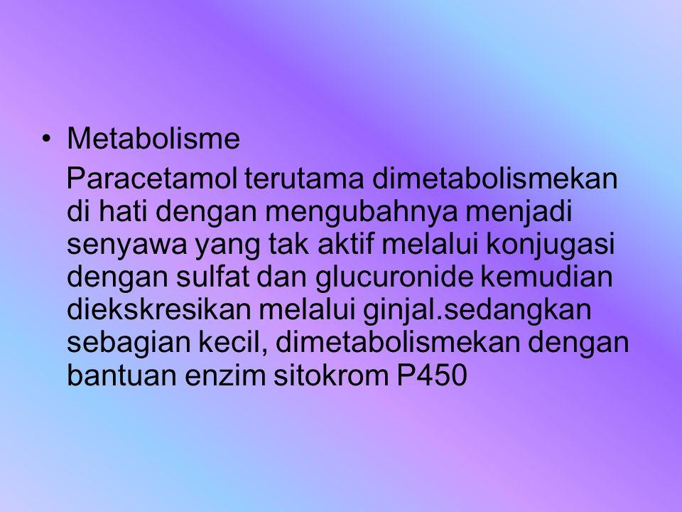 Metabolisme Paracetamol terutama dimetabolismekan di hati dengan mengubahnya menjadi senyawa yang tak aktif melalui konjugasi dengan sulfat dan glucur