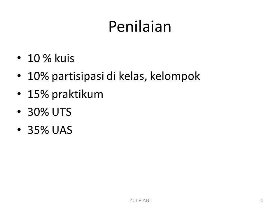 Penilaian 10 % kuis 10% partisipasi di kelas, kelompok 15% praktikum 30% UTS 35% UAS ZULFIANI5
