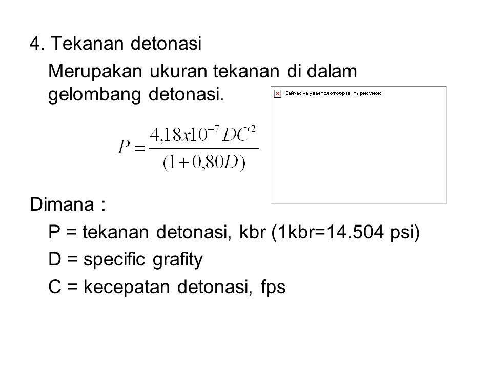 4. Tekanan detonasi Merupakan ukuran tekanan di dalam gelombang detonasi. Dimana : P = tekanan detonasi, kbr (1kbr=14.504 psi) D = specific grafity C
