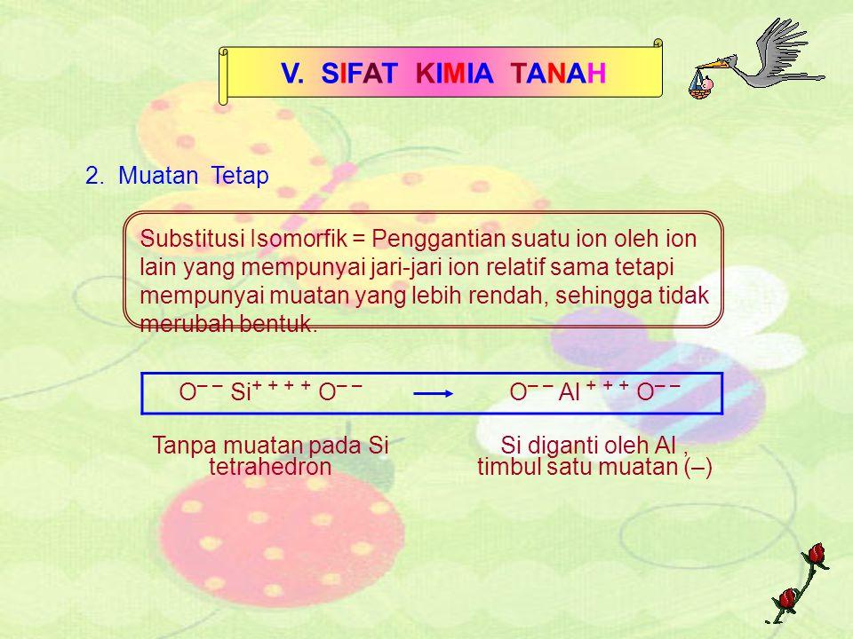 V. SIFAT KIMIA TANAH 2. Muatan Tetap Substitusi Isomorfik = Penggantian suatu ion oleh ion lain yang mempunyai jari-jari ion relatif sama tetapi mempu
