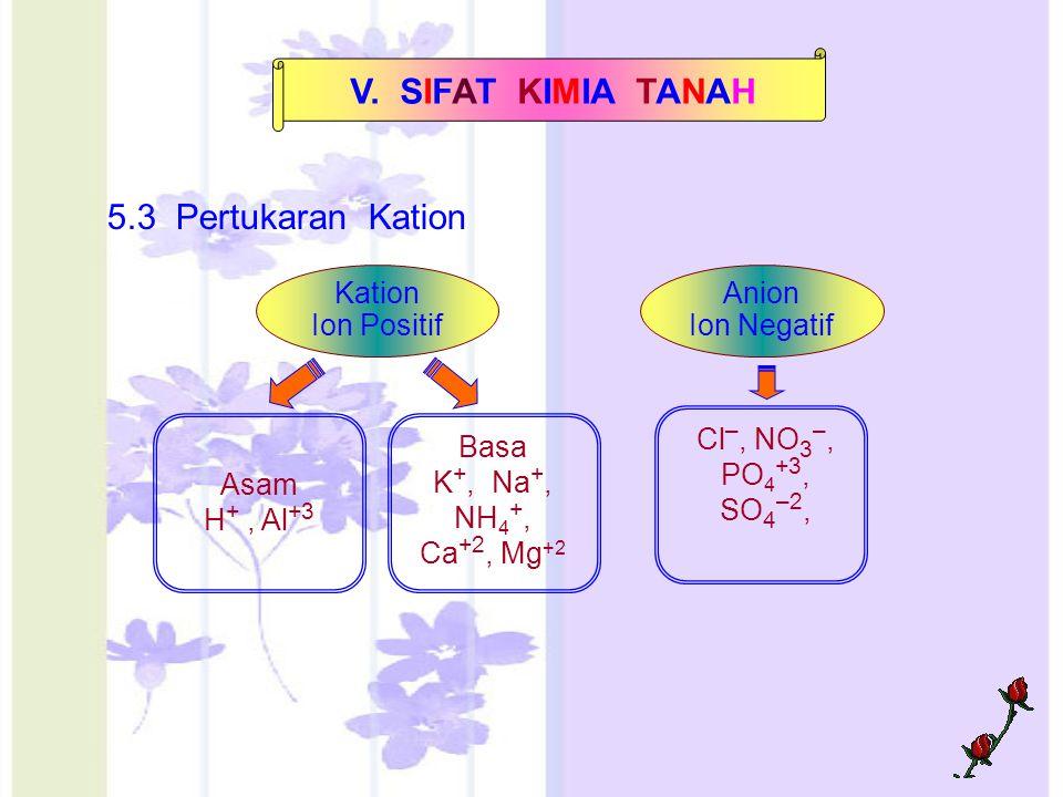 V. SIFAT KIMIA TANAH 5.3 Pertukaran Kation Kation Ion Positif Anion Ion Negatif Asam H +, Al +3 Basa K +, Na +, NH 4 +, Ca +2, Mg +2 Cl –, NO 3 –, PO