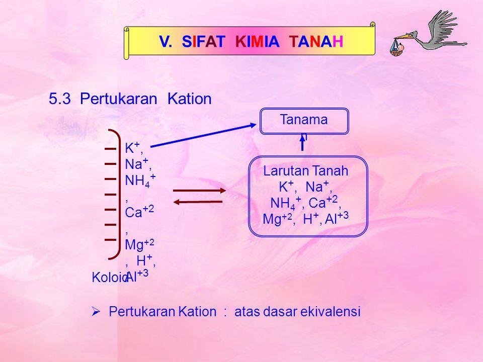 V. SIFAT KIMIA TANAH 5.3 Pertukaran Kation Larutan Tanah K +, Na +, NH 4 +, Ca +2, Mg +2, H +, Al +3 Koloid K +, Na +, NH 4 +, Ca +2, Mg +2, H +, Al +