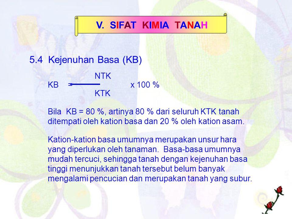 V. SIFAT KIMIA TANAH 5.4 Kejenuhan Basa (KB) NTK KB = x 100 % KTK Bila KB = 80 %, artinya 80 % dari seluruh KTK tanah ditempati oleh kation basa dan 2