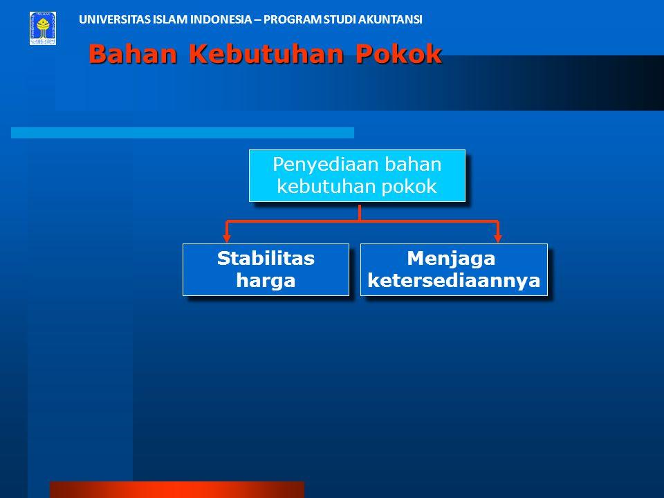 UNIVERSITAS ISLAM INDONESIA – PROGRAM STUDI AKUNTANSI Bahan Kebutuhan Pokok Penyediaan bahan kebutuhan pokok Penyediaan bahan kebutuhan pokok Stabilit