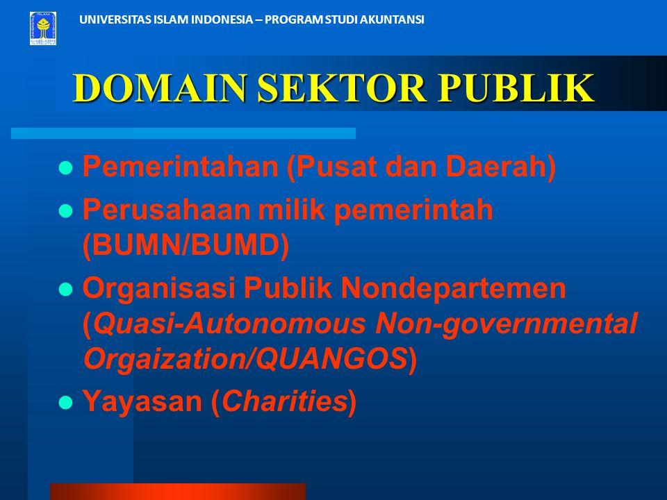 UNIVERSITAS ISLAM INDONESIA – PROGRAM STUDI AKUNTANSI DOMAIN SEKTOR PUBLIK Pemerintahan (Pusat dan Daerah) Perusahaan milik pemerintah (BUMN/BUMD) Org