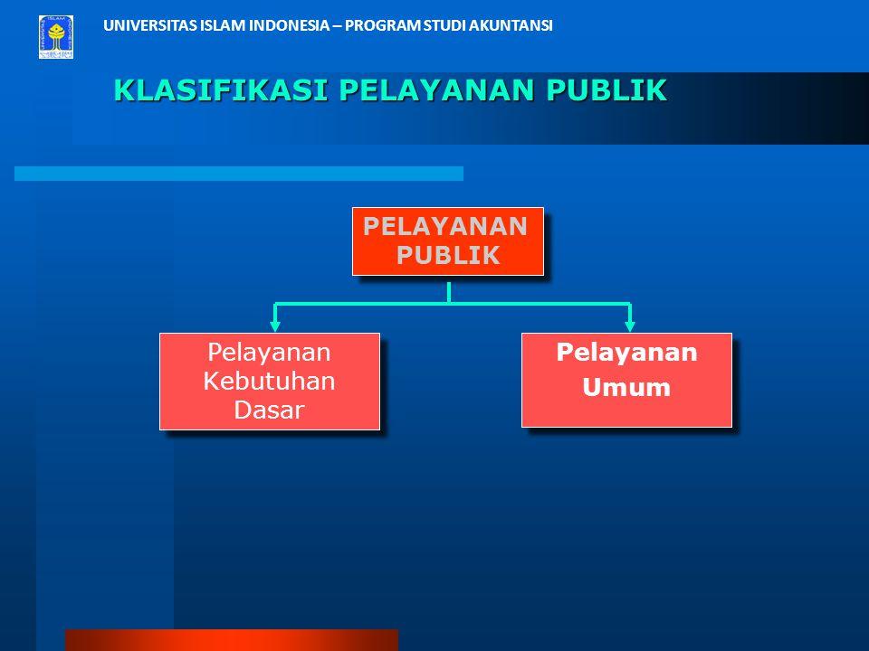 UNIVERSITAS ISLAM INDONESIA – PROGRAM STUDI AKUNTANSI KLASIFIKASI PELAYANAN PUBLIK Pelayanan Kebutuhan Dasar Pelayanan Kebutuhan Dasar Pelayanan Umum