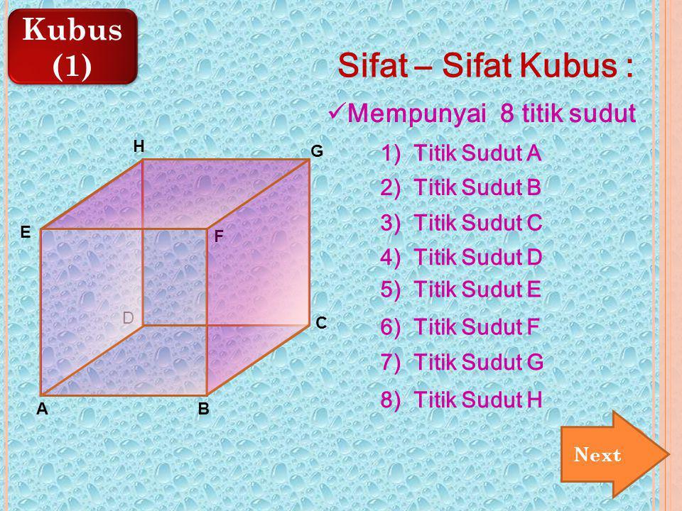 Kubus (1) Kubus (1) E AB C D F G H Sifat – Sifat Kubus : Mempunyai 8 titik sudut 1) Titik Sudut A 2) Titik Sudut B 3) Titik Sudut C 4) Titik Sudut D 5