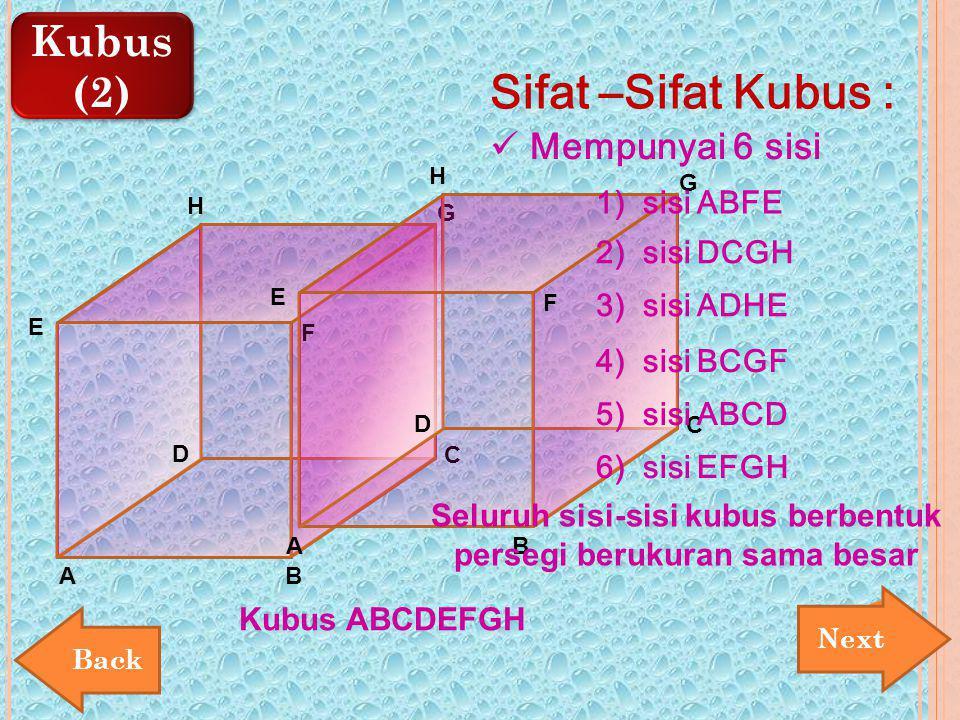 Kubus (2) Kubus (2) E AB C D F G H Sifat –Sifat Kubus : Mempunyai 6 sisi E AB C D F G H Kubus ABCDEFGH 1) sisi ABFE 2) sisi DCGH 3) sisi ADHE 4) sisi