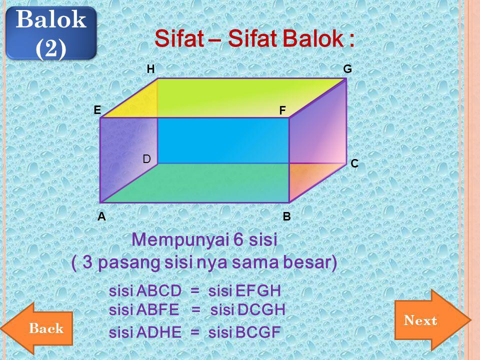 Sifat – Sifat Balok : Mempunyai 6 sisi ( 3 pasang sisi nya sama besar) sisi ABCD = sisi EFGH Next Balok (2) Balok (2) E AB C D F GH sisi ABFE = sisi D