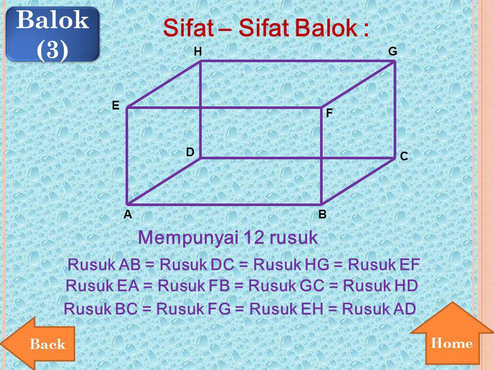 Home Balok (3) Balok (3) Sifat – Sifat Balok : E A B D F H C G Mempunyai 12 rusuk Rusuk AB = Rusuk DC = Rusuk HG = Rusuk EF Rusuk EA = Rusuk FB = Rusu