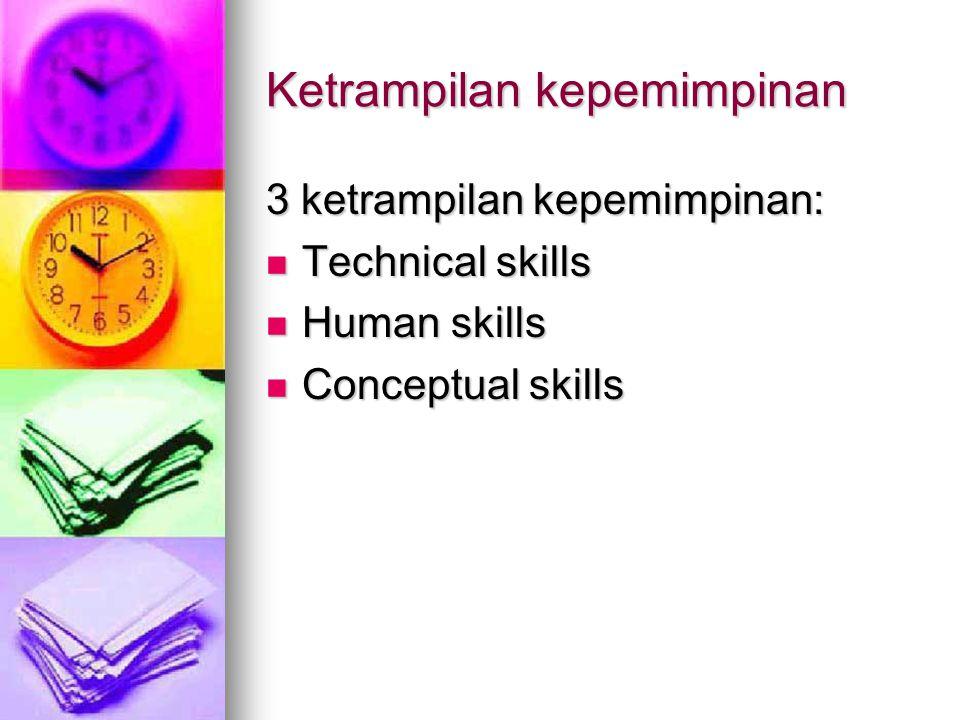 Ketrampilan kepemimpinan 3 ketrampilan kepemimpinan: Technical skills Technical skills Human skills Human skills Conceptual skills Conceptual skills
