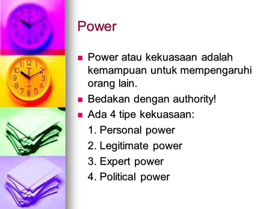 Power Power atau kekuasaan adalah kemampuan untuk mempengaruhi orang lain. Power atau kekuasaan adalah kemampuan untuk mempengaruhi orang lain. Bedaka