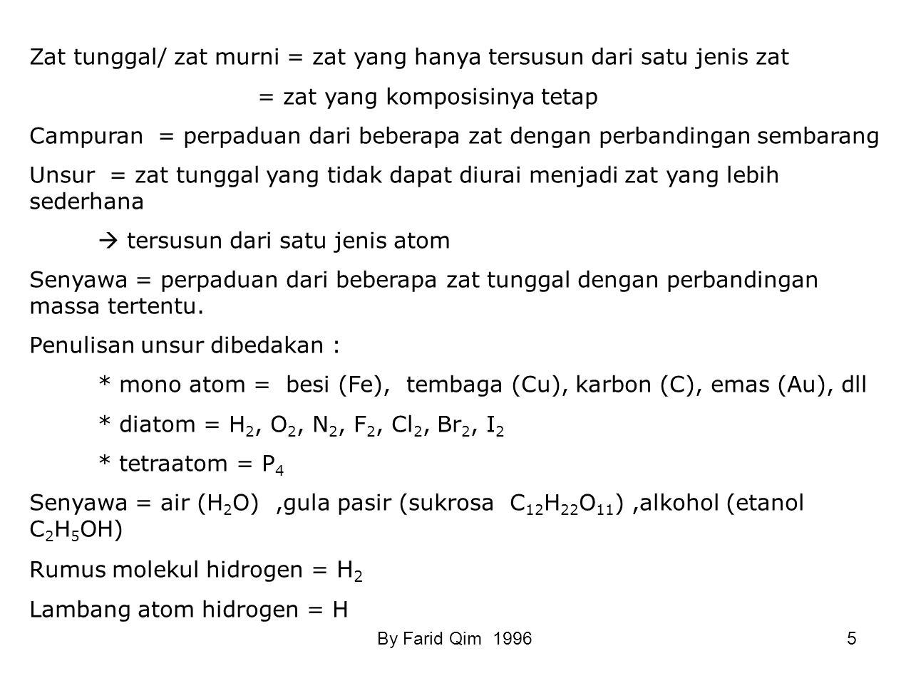 SUSUNAN MATERI MATERI ZAT TUNGGAL (Materi yang mempunyai komposisi tetap) Contoh: air, gula, garam, arang, oksigen, besi dll CAMPURAN Contoh: tanah, a