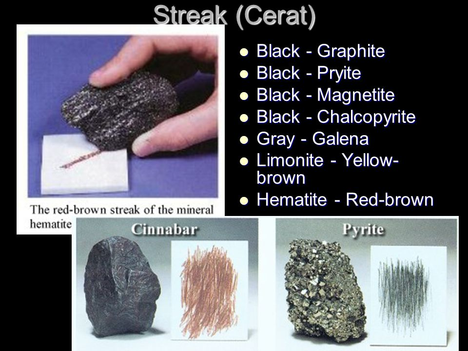 Streak (Cerat) Black - Graphite Black - Graphite Black - Pryite Black - Pryite Black - Magnetite Black - Magnetite Black - Chalcopyrite Black - Chalcopyrite Gray - Galena Gray - Galena Limonite - Yellow- brown Limonite - Yellow- brown Hematite - Red-brown Hematite - Red-brown