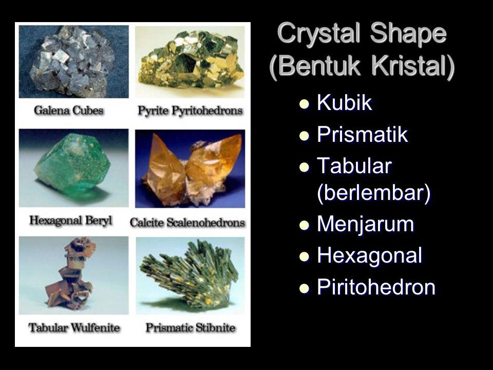 Crystal Shape (Bentuk Kristal) Kubik Kubik Prismatik Prismatik Tabular (berlembar) Tabular (berlembar) Menjarum Menjarum Hexagonal Hexagonal Piritohedron Piritohedron