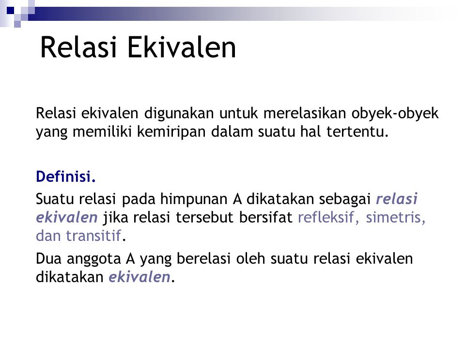 Relasi Ekivalen, Kelas Ekivalen, Poset,