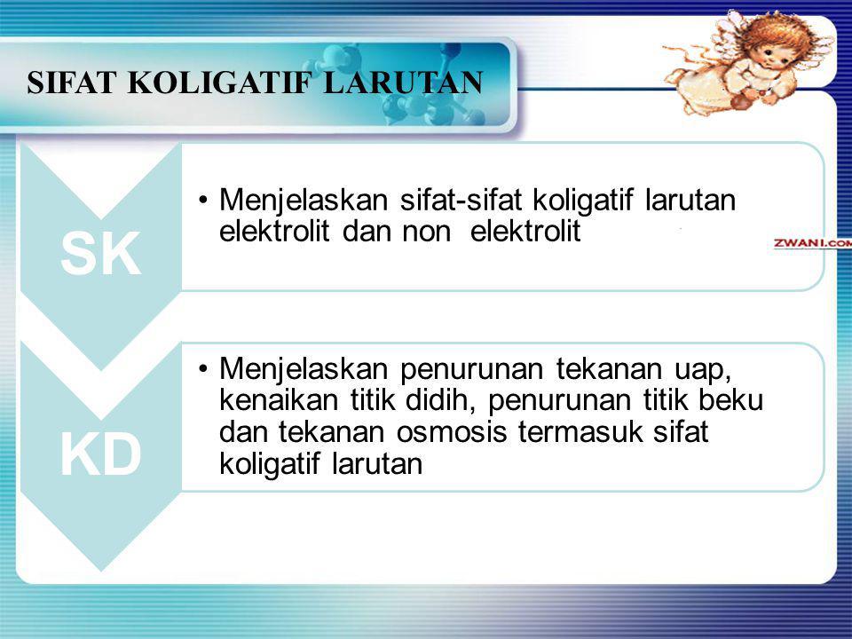 SIFAT KOLIGATIF LARUTAN SK Menjelaskan sifat-sifat koligatif larutan elektrolit dan non elektrolit KD Menjelaskan penurunan tekanan uap, kenaikan titik didih, penurunan titik beku dan tekanan osmosis termasuk sifat koligatif larutan
