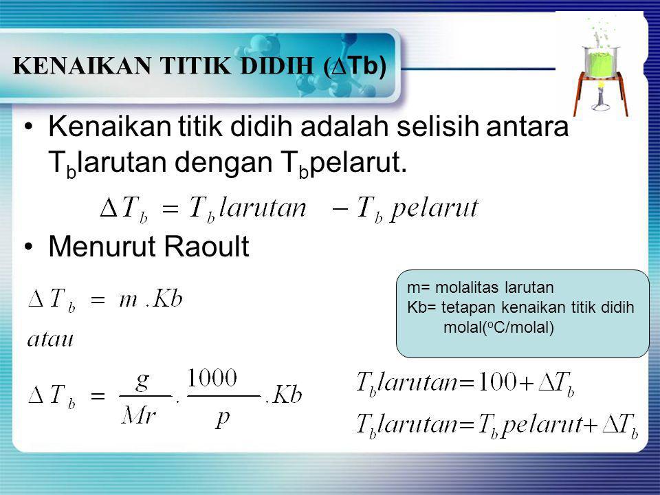 Keterangan diagram: CF: garis beku pelarut BG: garis beku larutan D: garis didih air 100 o C KKarena P < P o → larutan mendidih pada suhu lebih ting