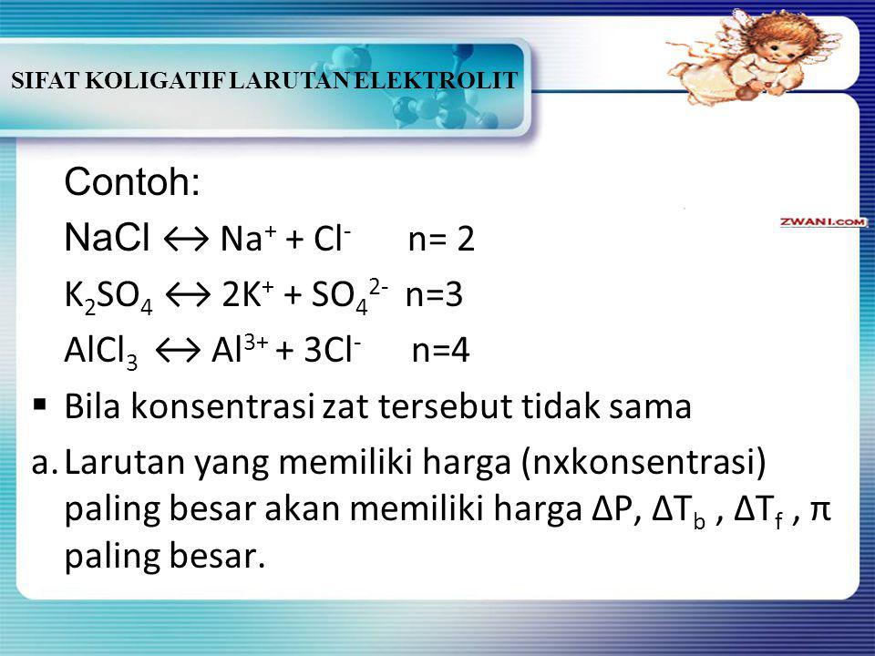 SIFAT KOLIGATIF LARUTAN ELEKTROLIT BBila konsentrasi zat terlarut sama a.Sifat koligatif larutan elektrolit mempunyai harga lebih besar daripada sif