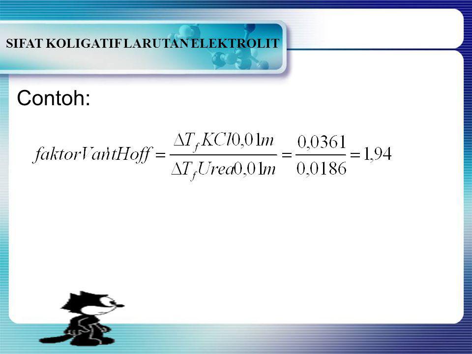 SIFAT KOLIGATIF LARUTAN ELEKTROLIT untuk larutan non elektrolit → n=1 untuk larutan elektrolit → n= jumlah ion HHubungan sifat koligatif larutan ele