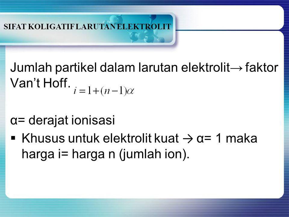 SIFAT KOLIGATIF LARUTAN ELEKTROLIT A ↔ B - Mula-mula: mmα Terion:-mα mα Setimbang:m- mα mα (akhir) Jumlah akhir zat terlarut= jumlah partikel A + juml