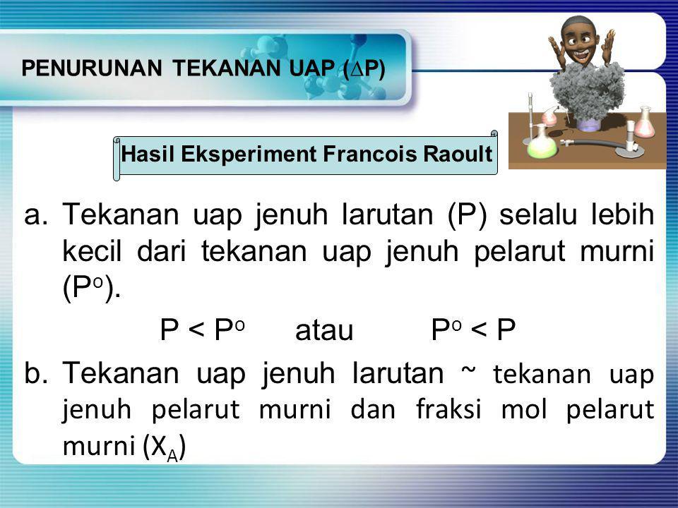 PENURUNAN TEKANAN UAP (∆P) a.Tekanan uap jenuh larutan (P) selalu lebih kecil dari tekanan uap jenuh pelarut murni (P o ).