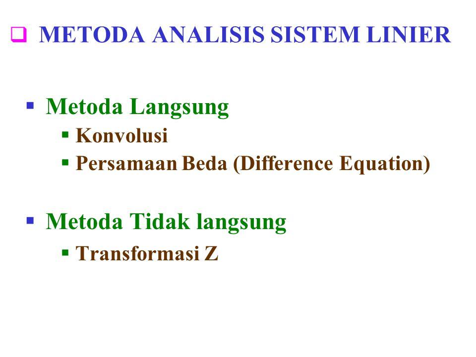  METODA ANALISIS SISTEM LINIER  Metoda Langsung  Konvolusi  Persamaan Beda (Difference Equation)  Metoda Tidak langsung  Transformasi Z