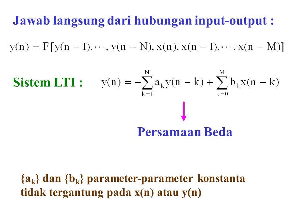 Jawab langsung dari hubungan input-output : Sistem LTI : {a k } dan {b k } parameter-parameter konstanta tidak tergantung pada x(n) atau y(n) Persamaa