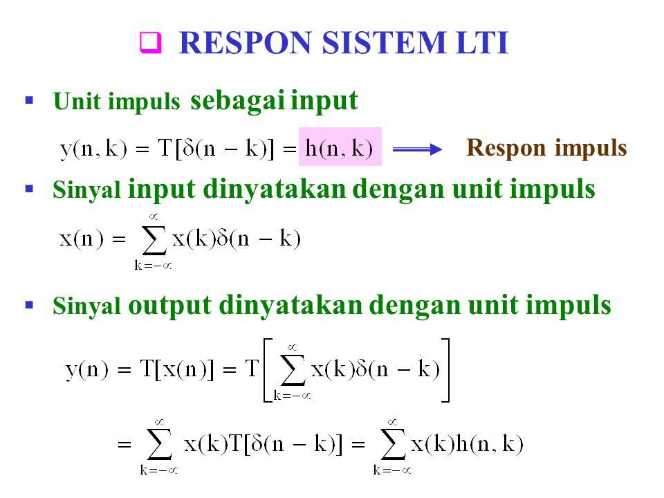 RESPON SISTEM LTI  Unit impuls sebagai input  Sinyal input dinyatakan dengan unit impuls  Sinyal output dinyatakan dengan unit impuls Respon impu