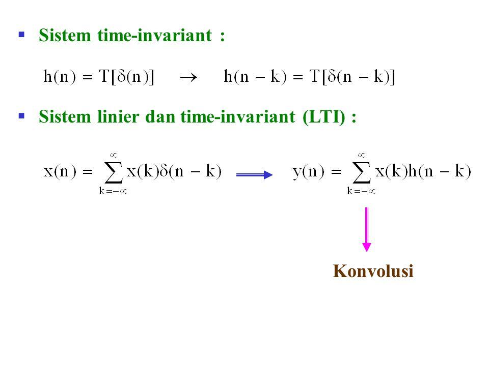  SIFAT-SIFAT KONVOLUSI  Komutatif  Asosiatif x(n) h(n) y(n) h 1 (n) x(n) y(n) h 2 (n)h(n) = h 1 (n)*h 2 (n) x(n) y(n) h(n) x(n) y(n)