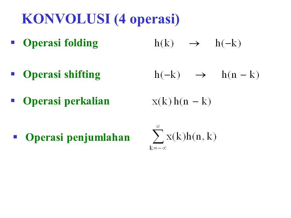 Contoh Soal 6.2 Respon impuls suatu sistem LTI adalah : Jawab : h(n) = {1, 2, 1, -1} Tentukan respon dari sistem bila inputnya : x(n) = {1, 2, 3, 1}