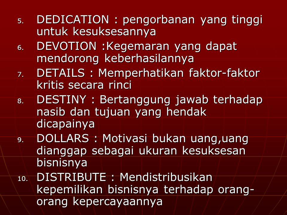 5.DEDICATION : pengorbanan yang tinggi untuk kesuksesannya 6.