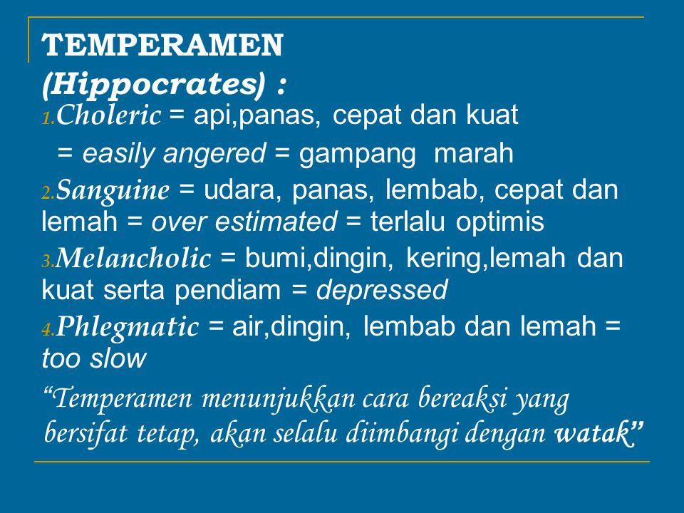 TEMPERAMEN (Hippocrates) : 1.