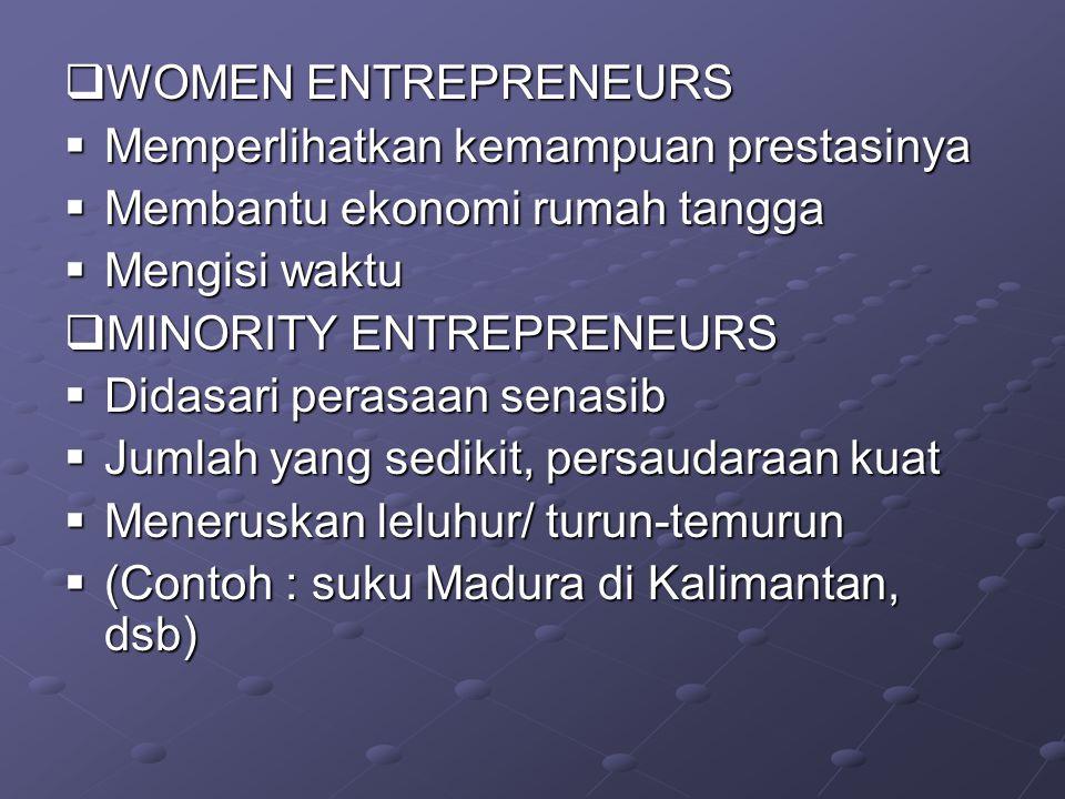  WOMEN ENTREPRENEURS  Memperlihatkan kemampuan prestasinya  Membantu ekonomi rumah tangga  Mengisi waktu  MINORITY ENTREPRENEURS  Didasari perasaan senasib  Jumlah yang sedikit, persaudaraan kuat  Meneruskan leluhur/ turun-temurun  (Contoh : suku Madura di Kalimantan, dsb)