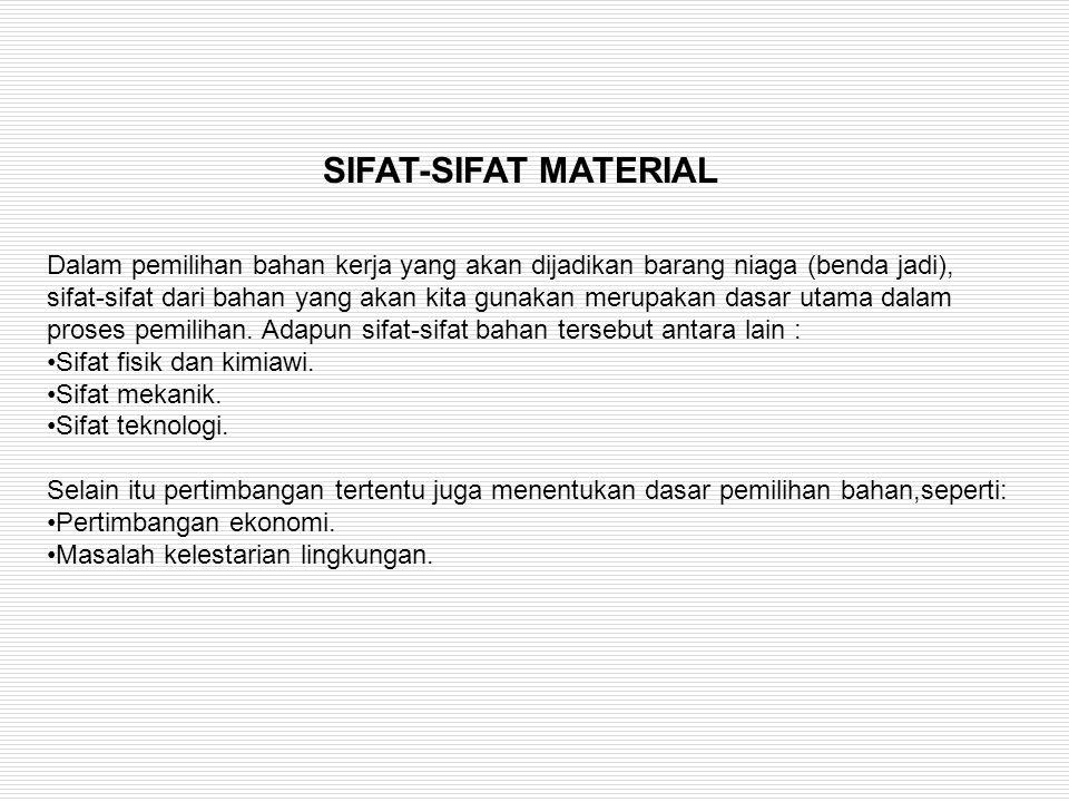 Dalam pemilihan bahan kerja yang akan dijadikan barang niaga (benda jadi), sifat-sifat dari bahan yang akan kita gunakan merupakan dasar utama dalam p