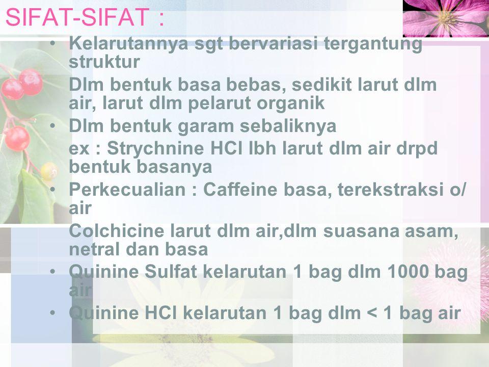 SIFAT-SIFAT : Kelarutannya sgt bervariasi tergantung struktur Dlm bentuk basa bebas, sedikit larut dlm air, larut dlm pelarut organik Dlm bentuk garam