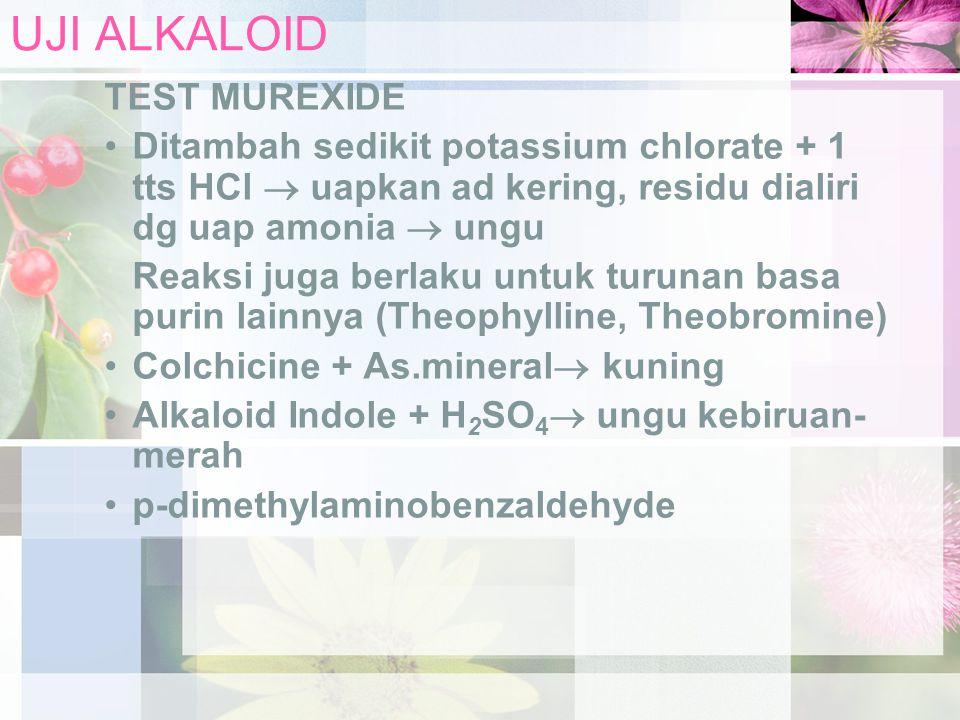 UJI ALKALOID TEST MUREXIDE Ditambah sedikit potassium chlorate + 1 tts HCl  uapkan ad kering, residu dialiri dg uap amonia  ungu Reaksi juga berlaku