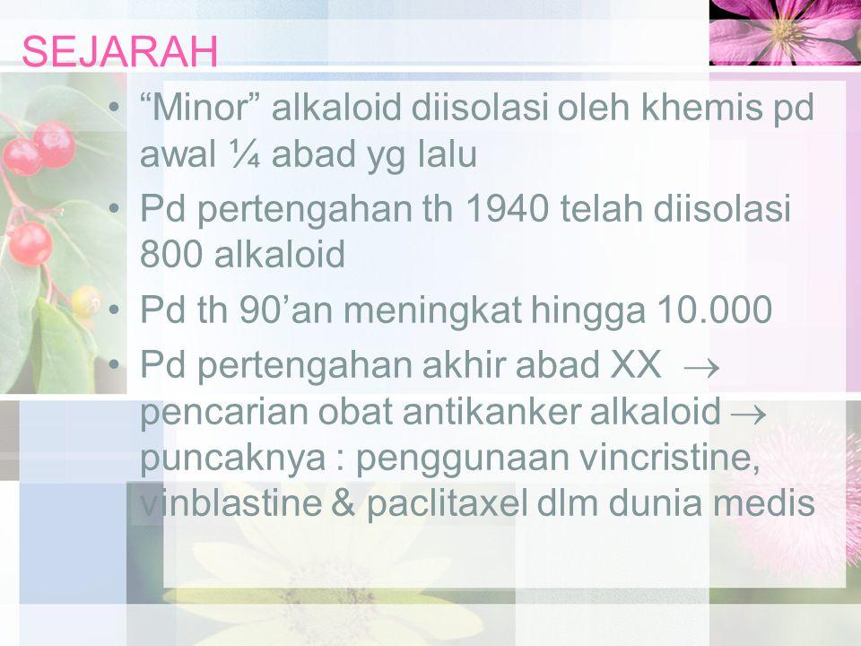 """SEJARAH """"Minor"""" alkaloid diisolasi oleh khemis pd awal ¼ abad yg lalu Pd pertengahan th 1940 telah diisolasi 800 alkaloid Pd th 90'an meningkat hingga"""
