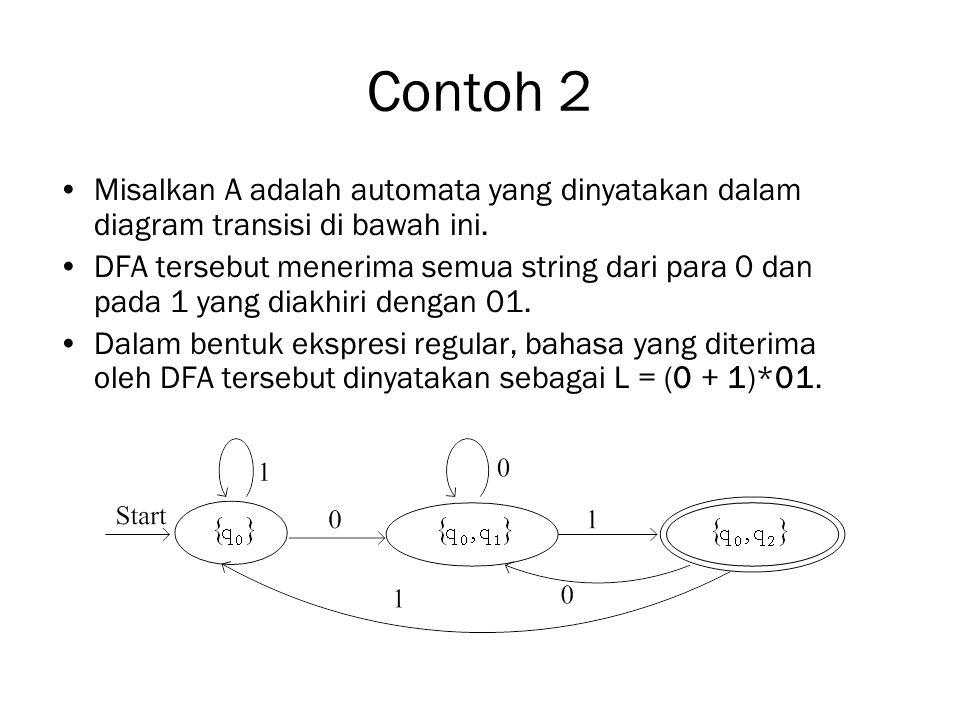 Contoh 2 Misalkan A adalah automata yang dinyatakan dalam diagram transisi di bawah ini.