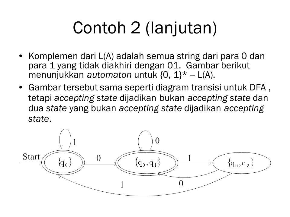 Contoh 2 (lanjutan) Komplemen dari L(A) adalah semua string dari para 0 dan para 1 yang tidak diakhiri dengan 01.