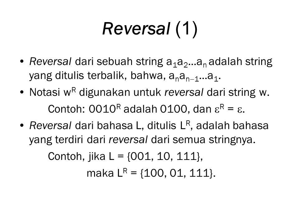 Reversal (1) Reversal dari sebuah string a 1 a 2...a n adalah string yang ditulis terbalik, bahwa, a n a n  1...a 1.